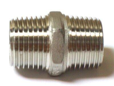 38 Male Npt X 38 Male Npt Hex Nipple 316 Stainless Steel Hn103