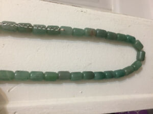 Jadeite jade natural stone necklace .