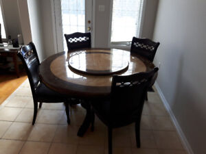 GRANITE WITH LAZY TOP DINING TABLE