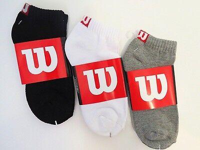 **WILSON** MEN'S TENNIS  LIGHTWEIGHT COTTON LOW CUT CUSHIONED QUARTER SOCKS Cushion Tennis Quarter Socks