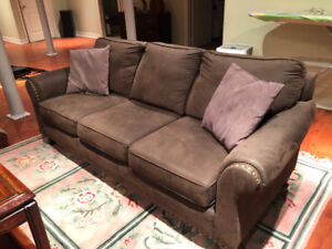 Brown Suede Sofa - Seats up to 4 ppl - $320