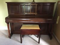 Upright Mahogany Piano (Rogers London) and stool