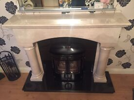 Solid marble mantle with stove(fireplace, wood burning stove marble)