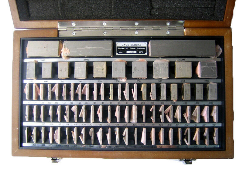 SHARS 81 PC GRADE B SQUARE STEEL GAGE BLOCK SET W/ USA NIST CERT NEW L}