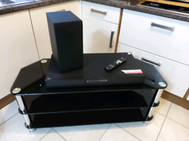 Lg soundwave surround sound and black glass 3 tier TV unit