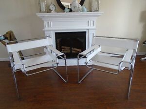 GORGEOUS WHITE FAUX WASSILY STYLE CHAIRS *** CAN DELIVER