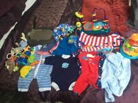 Boys clothes and toys 3-12 months.
