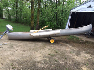18-foot square bow canoe & 5-horse power Honda motor & more