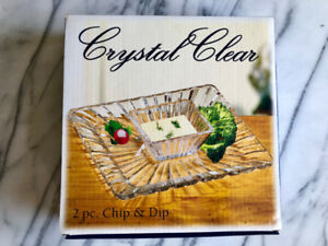 (NEW IN BOX) 2 pc. Chip & Dip Plate Bowl Set Lead Free Crystal