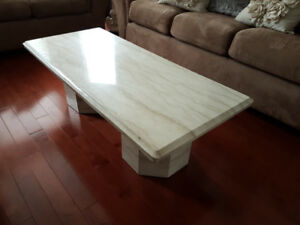 Solid Marble Coffee Table and 2 End Tables