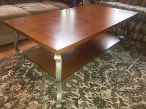 Large Wood and Metal Coffee Table