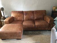 Tan Corner Leather Sofa ( left hand facing)