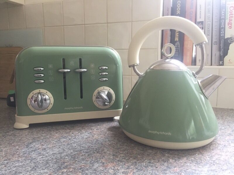 Morphy Richards Accents Sage Green Kettle And Toaster In