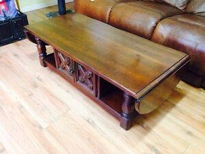 Vintage Heavy Solid Pine Drop Leaf Coffee Table