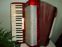 *the SCANDALLI-RED -MUSETTE- ACCORDION-80 BASS buttons