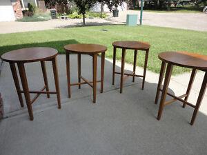 4  Midcentury Teak Round Folding Tables....Unique Design