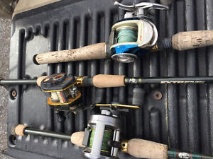 Big Pile of Bass Pike Fishing Rods & Reels Sell or Trade