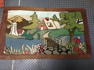VINTAGE HOOKED RUG DOUBLE SIDED WINDMILL - PARKER PICKERS -
