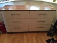6 draw unit in white and walnut. £50. Chest of drawers / sideboard. Suitable for bedroom or lounge
