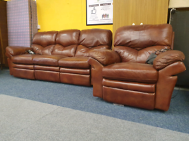 Brown leather electric reclining sofa and armchair