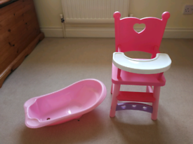 Dolls highchair and bath