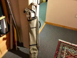 Vintage canvas golf bag and clubs