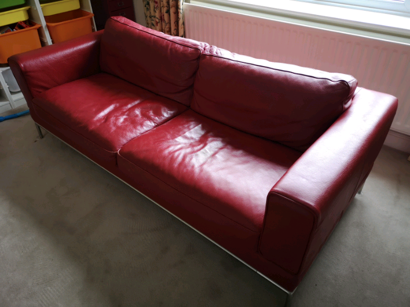 Fine Ikea Arild Red Leather Sofa In Cirencester Gloucestershire Gumtree Download Free Architecture Designs Philgrimeyleaguecom