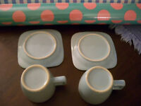 Pair - Espresso Cups & Saucers (Baby Blue)