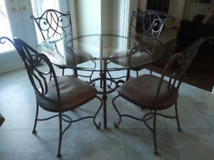 Gorgeous Glass Kitchen Dining Table + Matching Chairs