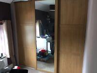 2 X Oak effect sliding doors + oak framed mirror sliding door and runners - built in wardrobe