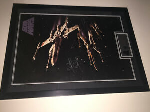 Star Wars poster framed and signed 24x36 w/coa