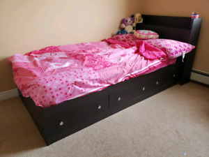 Captain bed twin bed with drawers and head board with shelf