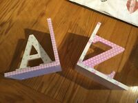 A Pretty Pair of Bookends from NEXT. A - Z in white & pinks. Great used condition.