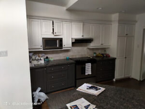 Kitchen Cabinetry - 2-Tone: White & Grey, Granite, Sink & Faucet