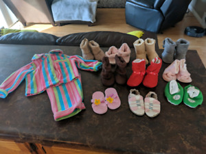 Girls shoe lot size (1-4)and pair PJs size 6-12 months