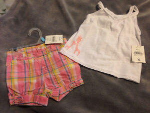 Pink shorts/white tank set new with tags