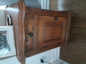 Small solid pine wood side table with carved flowers in wood