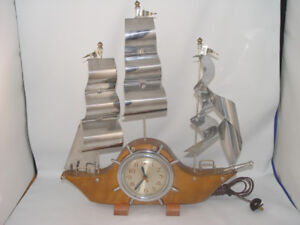 Vintage Mantle Clock Wood and Metal Sail Boat Electric Clock