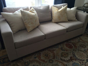 Gray beige linen feather back couch -$400