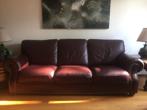 Burgundy leather couch set. Owned by only one family