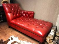 John Lewis chesterfield genuine leather chaise lounge sofa.