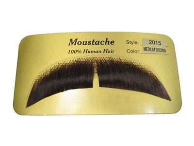 Adult Mustache Moustache Gent Biker Halloween Costume Brown + Glue