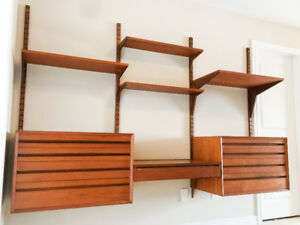 Modular Teak Wall Unit by Poul Cadovius for CADO