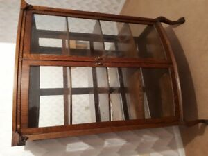 ESTATE SALE - Antique Mission Oak Curved Glass China Cabinet