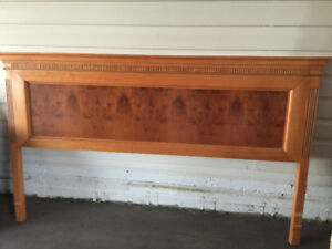 Unique yew wood king size headboard