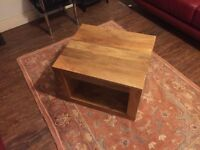 Solid manga wood side table From oak furniture store