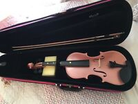 Pink violin with case