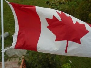 Large Canadian Flag with Pole and Mounting Bracket