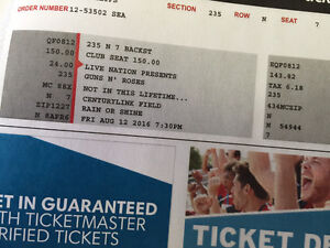 Guns and Roses in Seattle Pair of Tickets