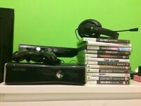 Xbox 360 with Kinect all wires 13 games head set and pad